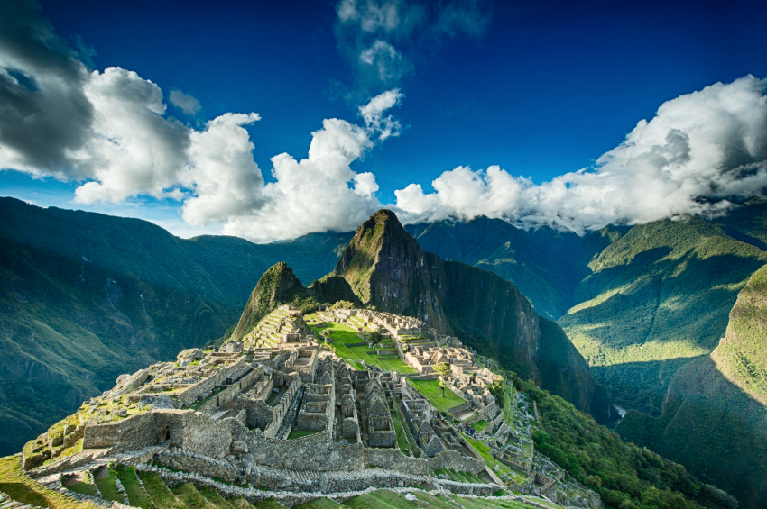 Machu Picchu beautiful panorama overview above the world heritage site