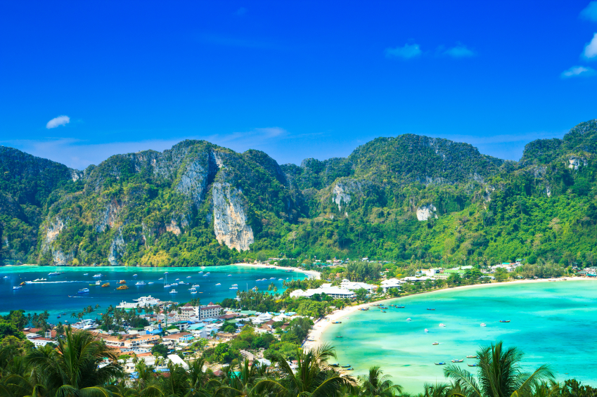 View tropical island with resorts - Phi-Phi island, Krabi Provin