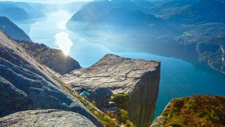 Preikestolen massive cliff (Norway, Lysefjorden summer morning view)