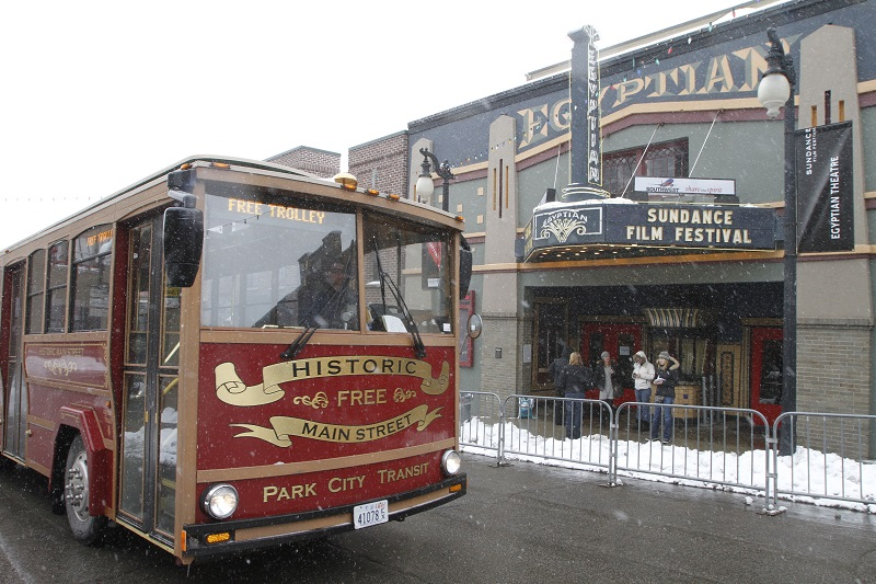 The Historic Main St Free Trolley passes in front of the Egyptian Theatre Wednesday, in Park City Utah, January 20, 2010 Live at Sundance/Calvin Knight