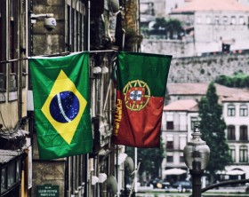 Brazil and Portugal flags at Porto street, Portugal
