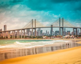 City of Natal beach with Navarro Bridge, Brazil- vintage look