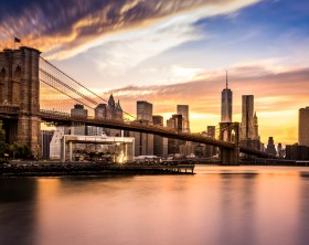 Brooklyn Bridge at sunset viewed from Brooklyn Bridge park