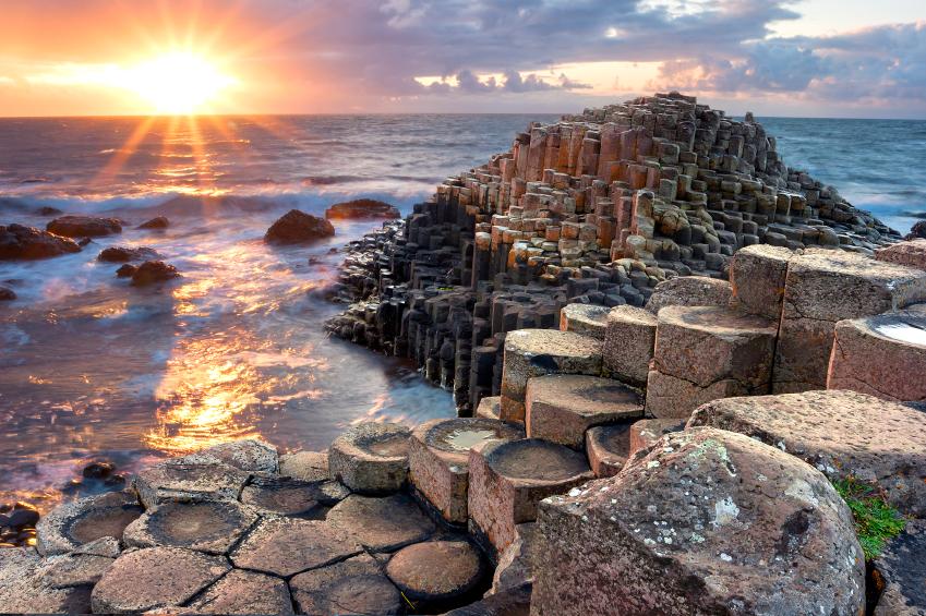 Sunset at Giant s Causeway in North Antrim, Northern Ireland