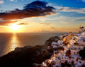 Greece. Cyclades Islands - Santorini (Thira). Oia town before sunset