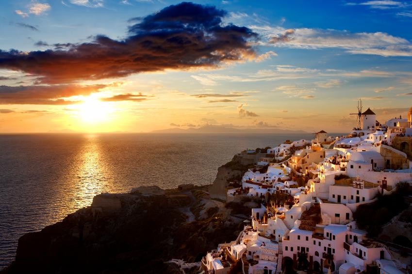 Greece. Cyclades Islands - Santorini (Thira). Oia town before sunset