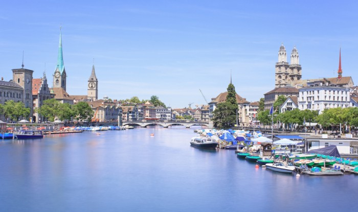 Zurich, Switzerland - view along the Limmat river in summer