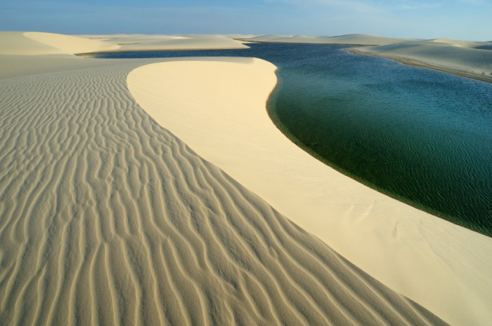 Maranh‹o state, Brazil Ð August. 21. 2010 : Len—is Maranhenses National Park, located in northeastern Brazil, low, flat, occasionally flooded land, overlaid with large, discrete sand dunes with blue and green lagoons