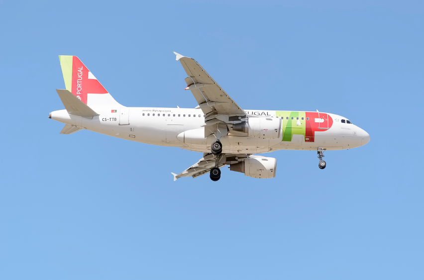 MADRID, SPAIN - MAY 23th 2015: Aircraft -Airbus A319-111-, of -TAP Portugal- airline, landing on Madrid-Barajas -Adolfo Suarez- airport, on May 23th 2015.