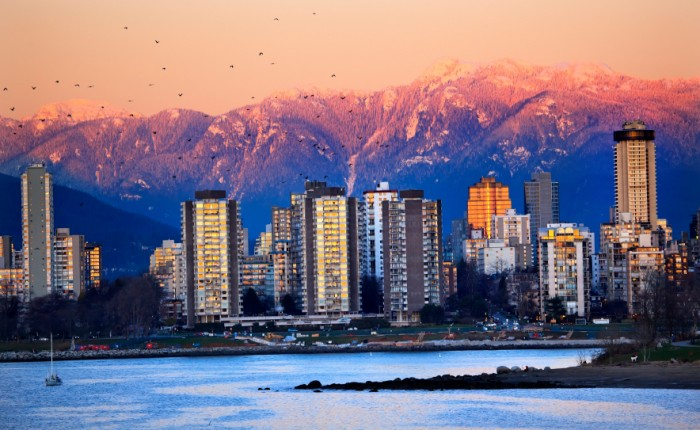 Vancouver Skyline Harbor High Rises Sailboat Birds English Bay From Jericho Beach Snow Mountains Sunset British Columbia Pacific Northwest
