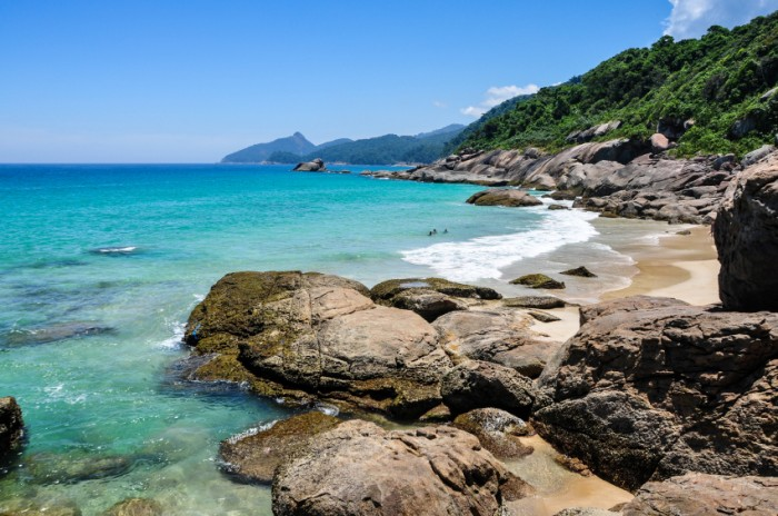 Swimming and enjoying the beach and nature of Lopes Mendes in Ilha Grande, Rio, Brazil. South America.