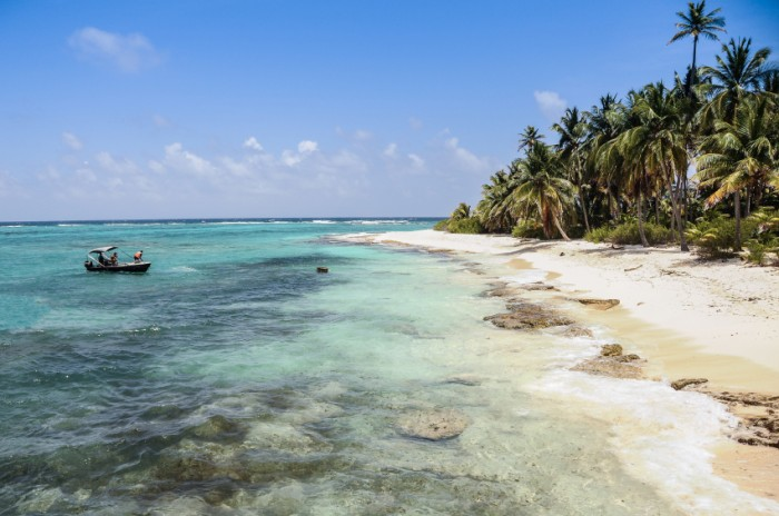 Arriving to a perfect untouched wild caribbean beach at San andres island. Colombia, South America. Latin America