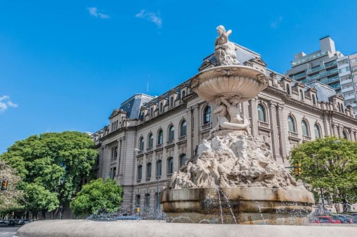 Fountain at Belgrano avenue in Rosario, Santa Fe province, Argentina
