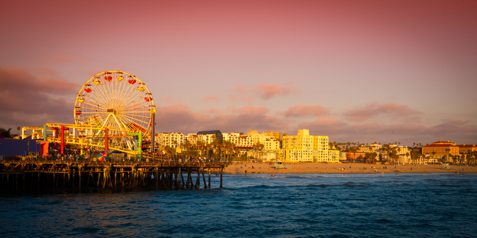 Ferris wheel on a pier, Santa Monica Pier, Santa Monica, Los Angeles County, California, USA
