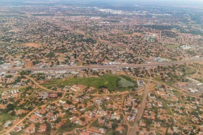 Aerial view of the city of Gaborone, the capital city of Botswana