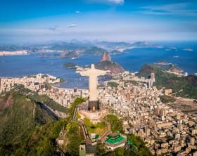 Rio de Janeiro, Brazil : Aerial view of Christ and Botafogo Bay from high angle