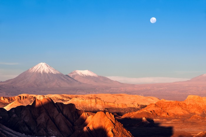 Volcanoes Licancabur and Juriques, Moon Valley, Atacama, Chile
