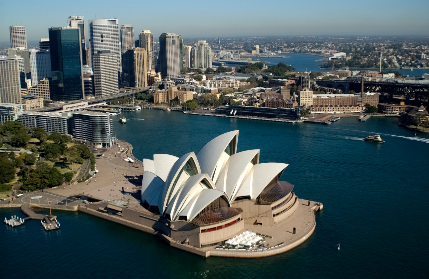NSW Sydney Australia aerial of city skyline with Circular Quay  opera house and sydney harbour bridge 2004