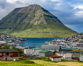 Panoramic View of the city of Klaksvik, Faroe Islands, Denmark, in the North Atlantic.