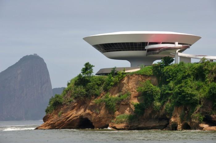 Oscar Niemeyer's Niterói Contemporary Art Museum and Sugar Loaf, in Rio de Janeiro, Brazil