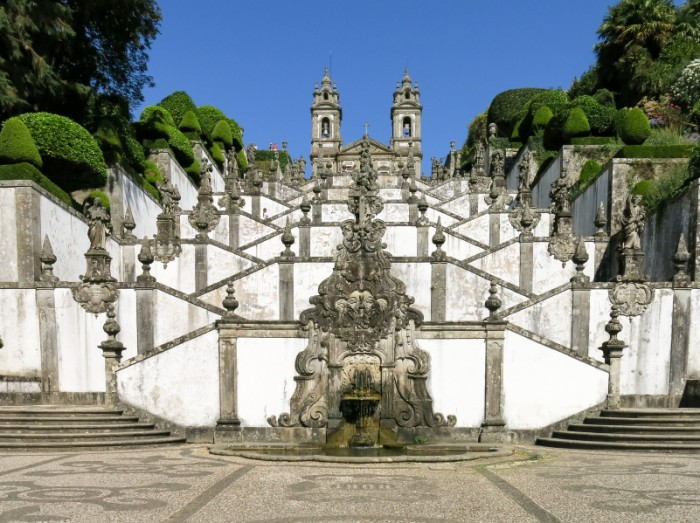 Stairway and church of Bom Jesus do Monte, a Portuguese sanctuary in Tenoes near the city of Braga in Portugal