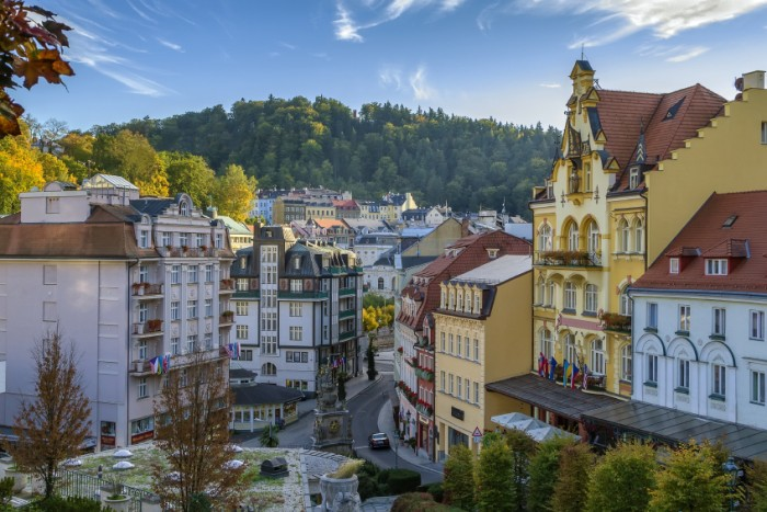 View of Karlovy Vary city center, Czech republic