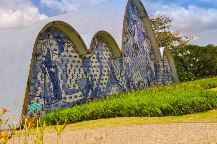 BH, BRAZIL - DECEMBER 23 - An exterior view detail of the church of Sao Francisco de Assis, on December 23, 2015, in Belo Horizonte, Brazil. Designed by Oscar Niemeyer is known as the Pampulha Church.