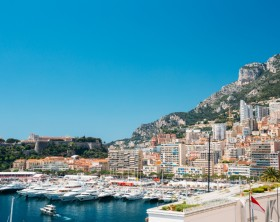 City Pier, Jetty In Sunny Summer Day. Monaco, Monte Carlo architecture.