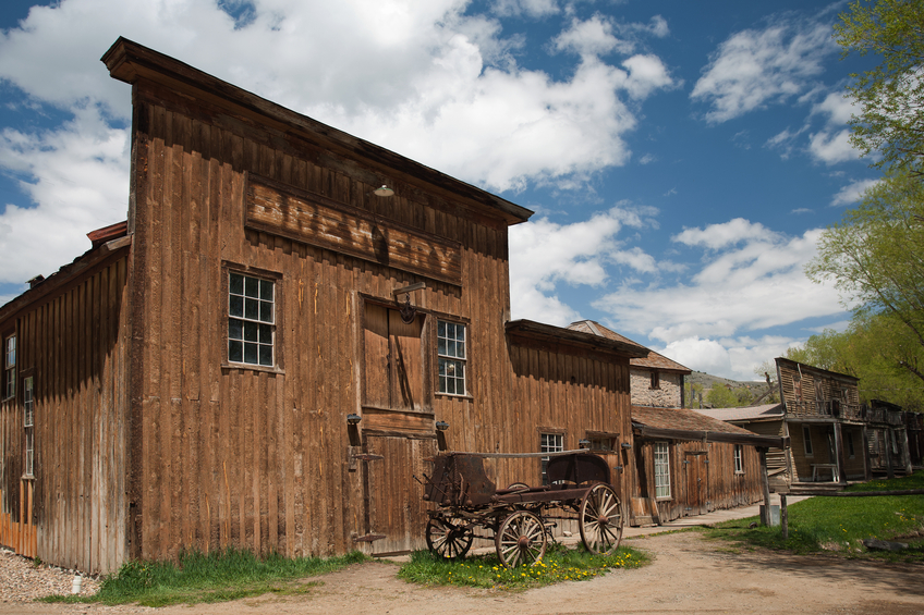 Old brewery in historic town Virginia City, Montana