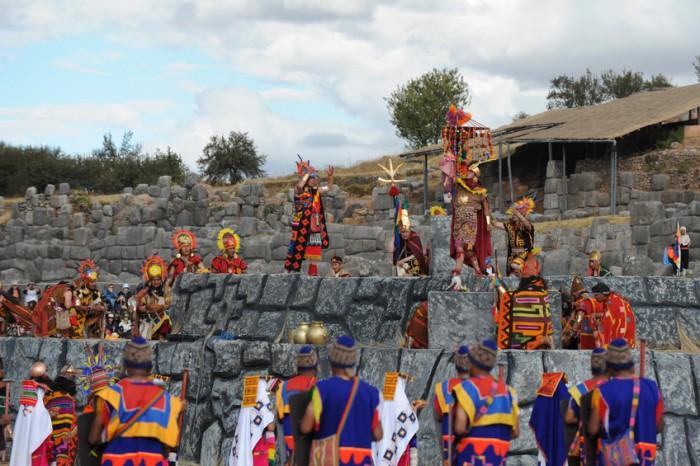 """Cusco, Peru - June 24, 2012: Inca King is participating the Inti Raymi Celebrations on 24 June 2012 at Sacsahuaman Castle Cusco, Peru"""