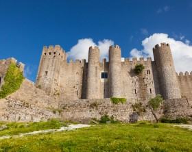 Obidos, Portugal - June 30, 2012: General view of Obidos castle at a summer day with nobody in the image