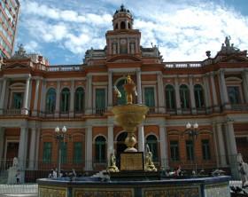 """City Hall of Porto Alegre and Talavera de La Reina Fountain. Also known as """"old hall""""."""