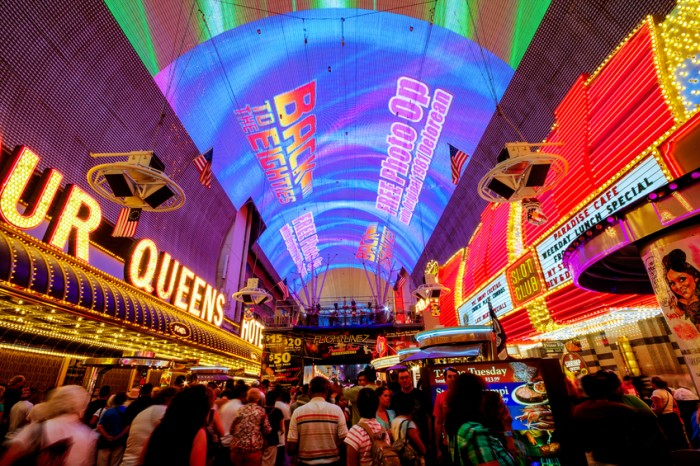 Las Vegas, USA - July 02, 2011: Fremont street experience in Downtown Las Vegas on July 02, 2011. It offers free nightly shows featuring 12.5 million lights and 550,000 watts of amazing sound at VivaVision.