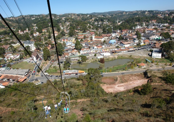 Campos de Jord?o, Brasil - July 22, 2007: Shopping center of this tourist city in the state of S?o Paulo, as the Morro do Elefante, accessed by visitors via the cable car