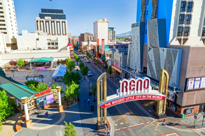 Reno, USA - June 17, 2012: The Reno Arch in Reno, Nevada. The original arch was built in 1926 to commemorate the completion of the Lincoln and Victory Highways.