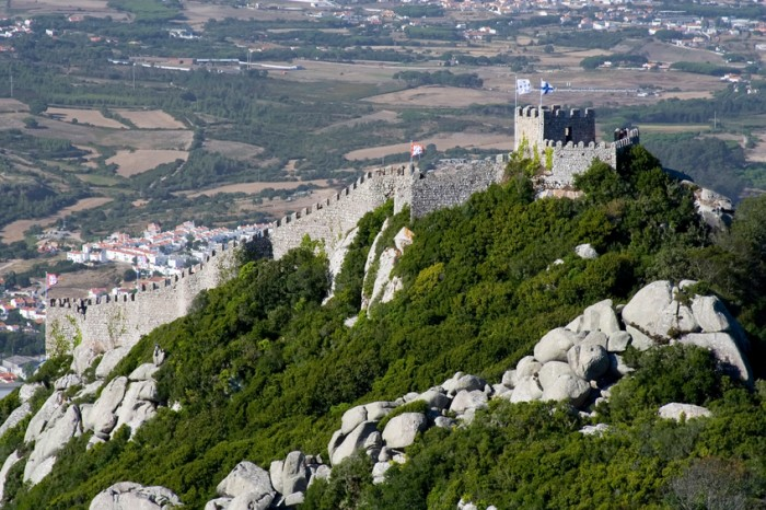 The Castelo dos Mouros (Castle of the Moors) is located in Sintra, Portugal.  Situated on a high hill overlooking the village, it is part of the Cultural Landscape of Sintra, recognised as an UNESCO World Heritage Site.