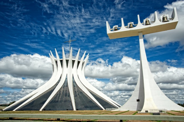 Exterior of the Cathedral of Brasilia with bells next to it