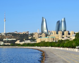 Seaside boulevard in Baku,  Azerbaijan