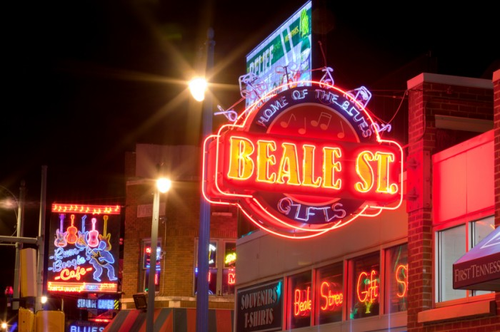Memphis, Tennessee, USA - January 7, 2015: The famous Beale Streetin Downtown Memphis, Tennessee. It is a significant location in the city's history, as well as in the history of the blues. Today, the blues clubs and restaurants that line Beale Street are major tourist attractions in Memphis
