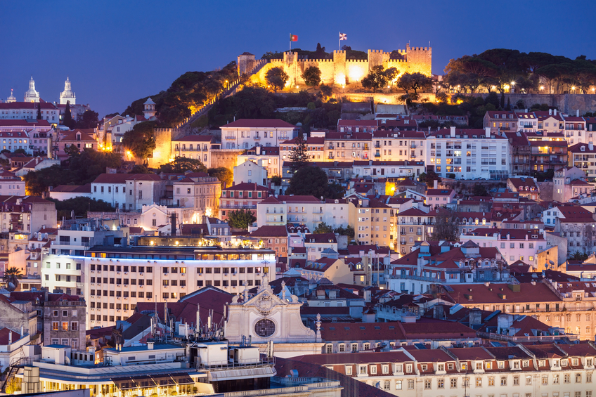 The Castle of Sao Jorge is a Moorish castle occupying a commanding hilltop overlooking the historic centre of the Portuguese city of Lisbon
