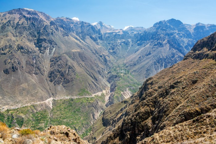 Dramatic view of the steep walls of Colca Canyon in Peru