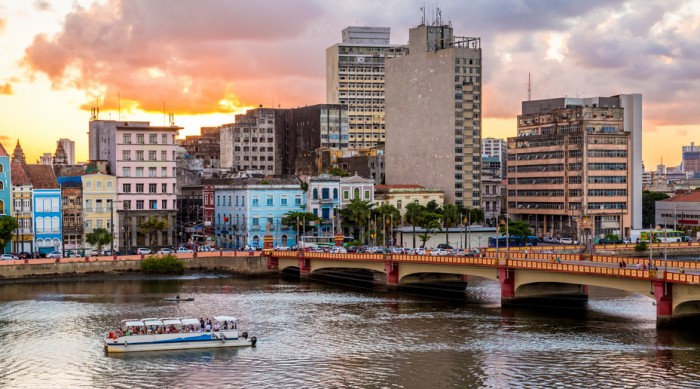 Aerial view of the city of Recife in Pernambuco, Brazil at sunset.