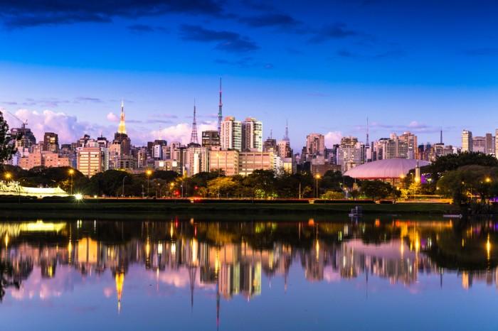 Sao Paulo skyline at night in Brazil