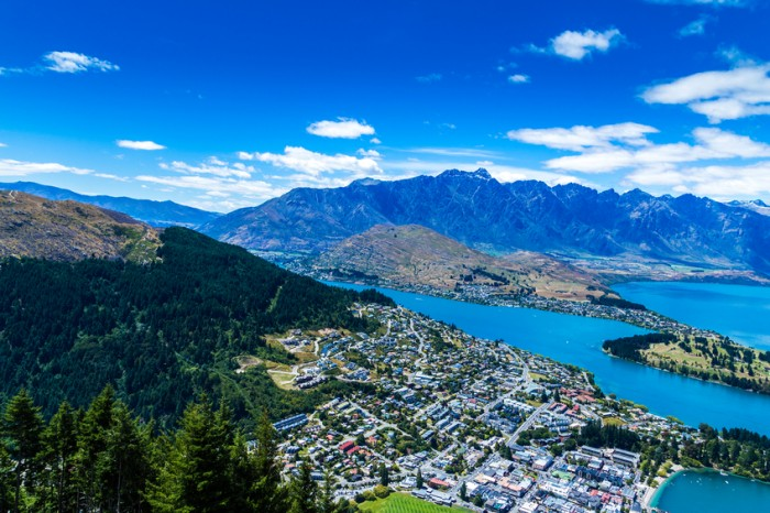 Aerial view of Queenstown Valley, New Zealand