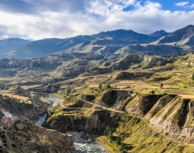 Panoramic view in the deep Colca Canyon, Peru