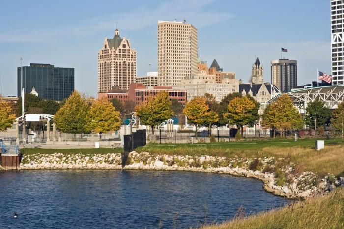 Autumn in downtown Milwaukee, Wisconsin.
