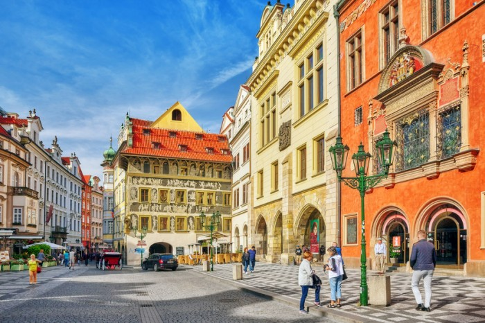 Prague- Czech Republic - September 13, 2015: People, tourists on Old Town Square in Prague(Staromestske namesti)-historic square in the Old Town quarter of Prague, the capital of the Czech Republic. It is located between Wenceslas Square and the Charles Bridge.