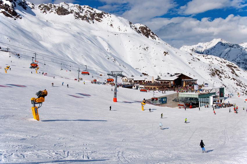 Soldeny, Austria - March 10, 2013: Middle station area in Solden, Alpine ski resort in Tirol, Austria