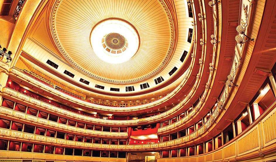 Vienna opera interior. Wide angle view.