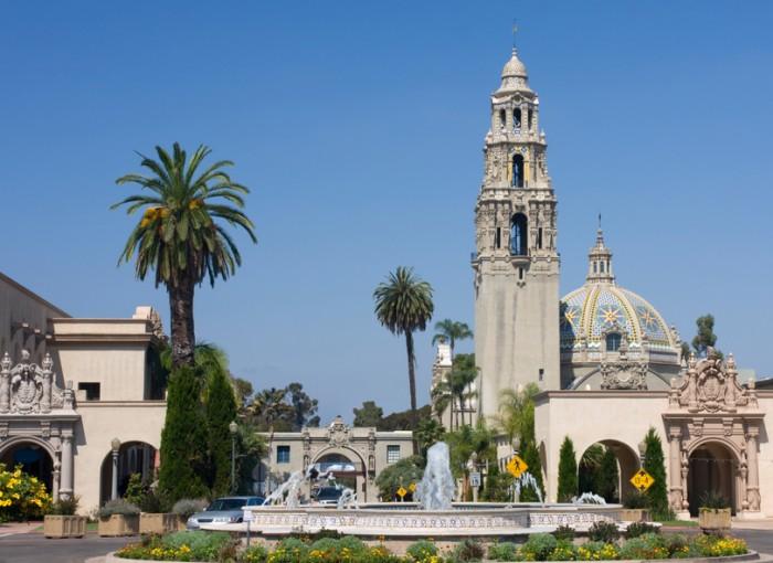 Balboa Park, California Tower, fountain, San Diego, California, USA